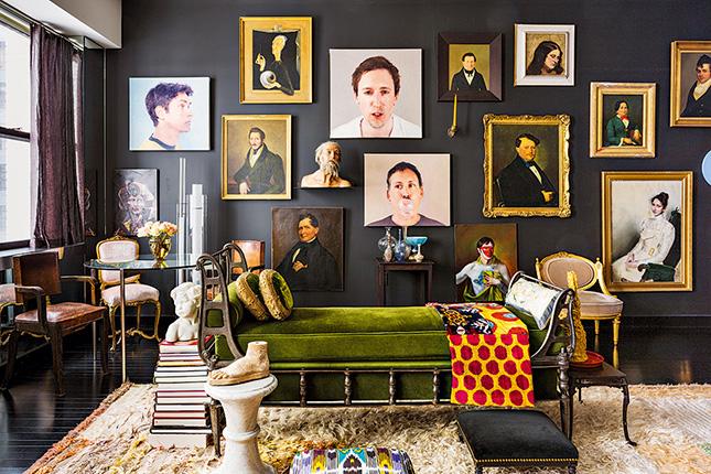 pared con cuadros de fotos