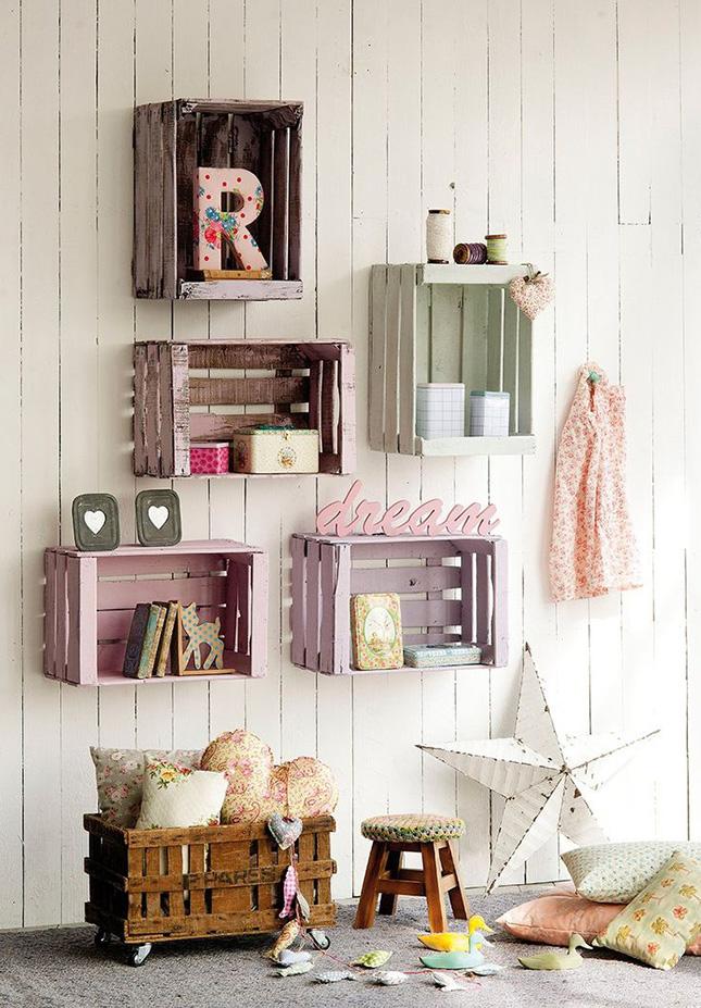 DIY: Cajas como estanterías. Paredes muy chic