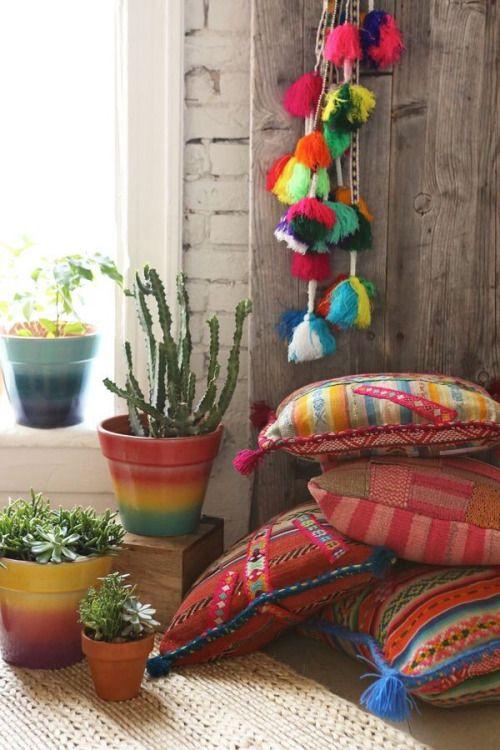 Decoraci n hippy chic cojines y alfombras a os 70 - Decoracion cojines ...