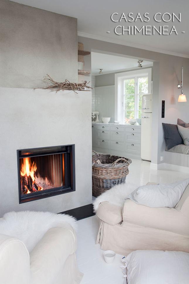 Casas con chimenea insp rate y vive tu sue o de invierno - Decoracion chimeneas salon ...