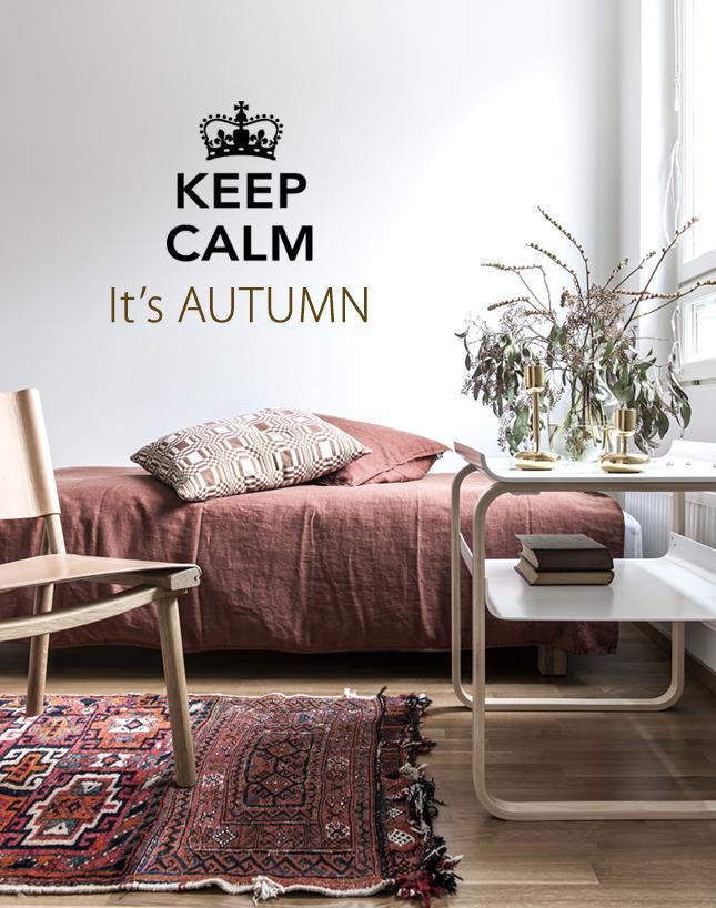 decoracion en otoño con cojines y alfombras