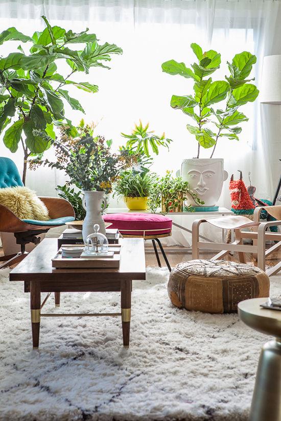 apartamento redecorado con muebles auxiliares, complementos y plantas