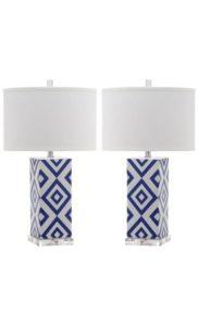 Set de dos lámparas clásicas con pie cerámico de color azul y pantalla blanca