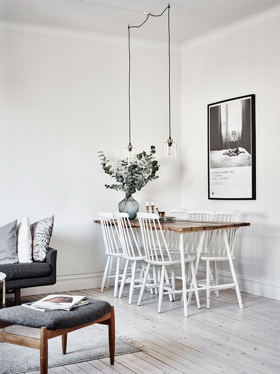 conjunto de 6 sillas Fanett blancas en comedor de estilo nórdico