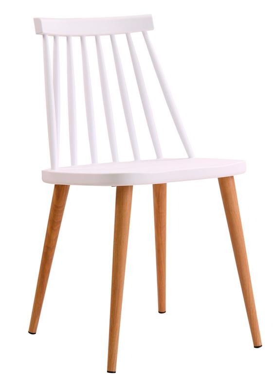 silla Fanett blanca patas color madera IconsCorner