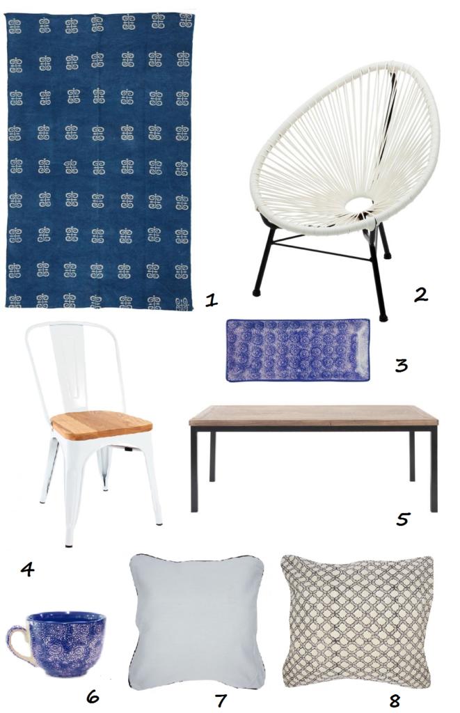 alfombra, sillas, mesas, cerámica y cojines para tu decoración al más puro estilo mediterráneo
