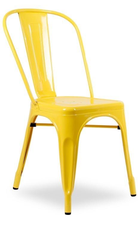 Silla metálica vintage amarilla