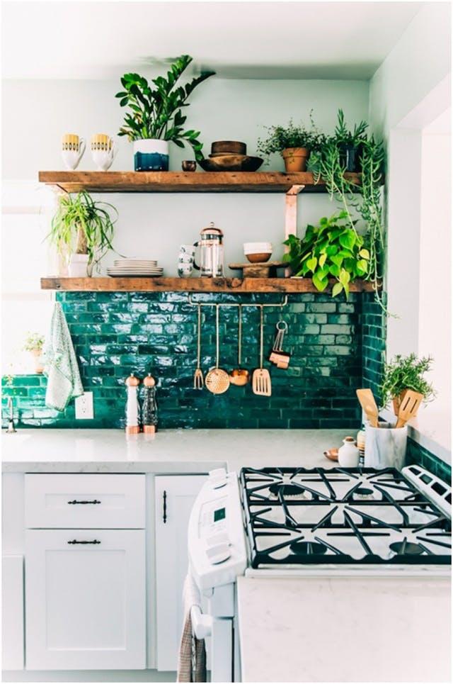 cocina, ejemplo decorativo de estilo bohemio