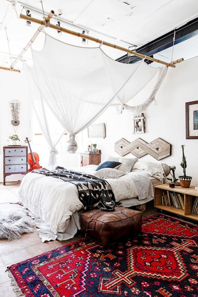 Decoración de dormitorio estilo bohemio