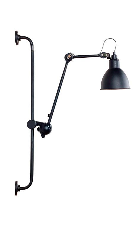 Aplique y flexo de pared regulable en altura en color negro