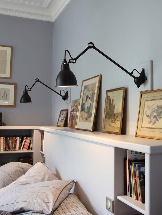 Iluminación de dormitorio con lámparas Bernard-Albin Gras negro