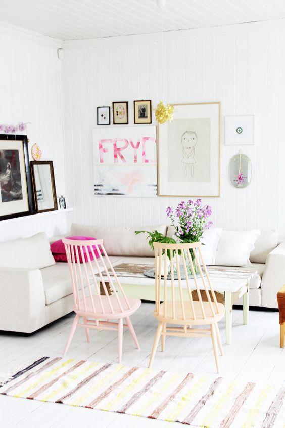 sillas Fanett Mademoiselle rosa y ocre
