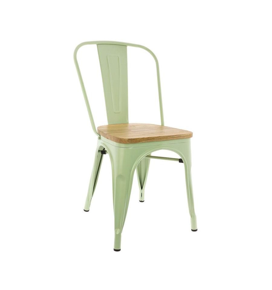 Silla metálica Tolix Tribute verde menta con asiento de teca.