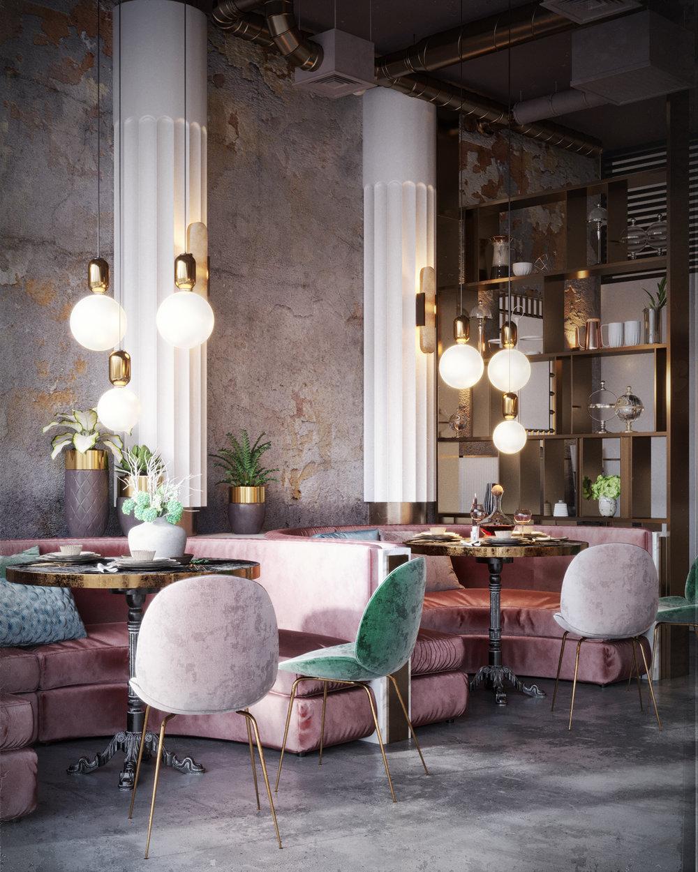 sillas de terciopelo rosas y verdes