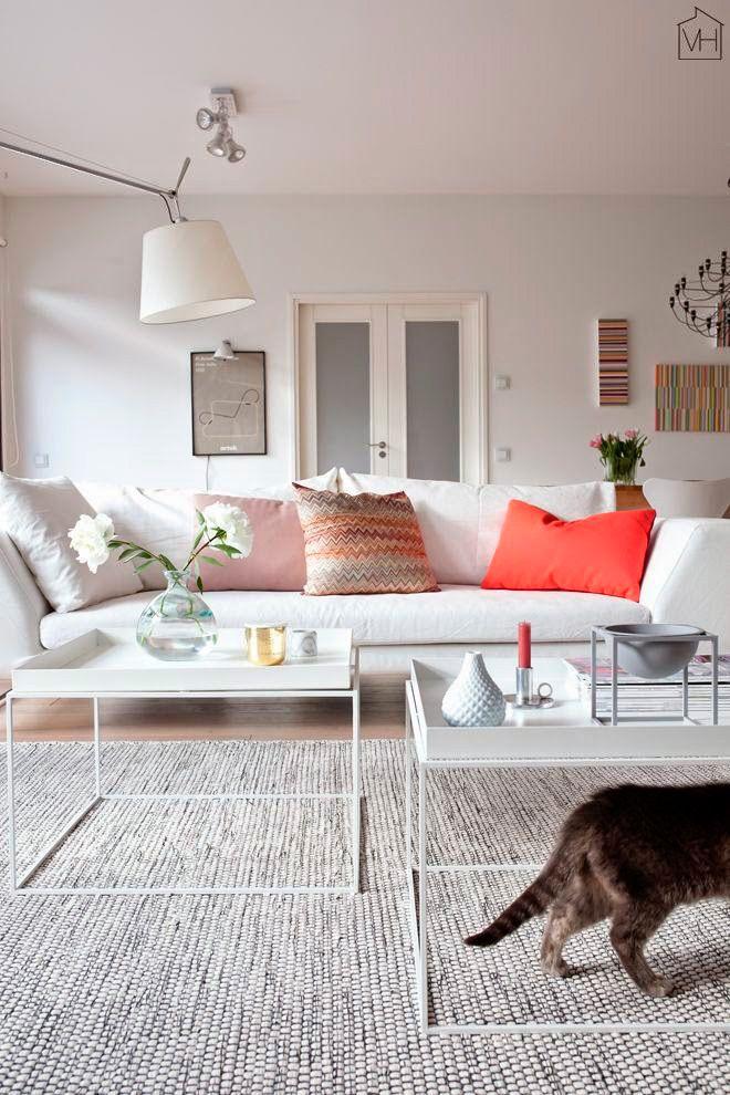 cojines de colores contrastando en salón de color blanco