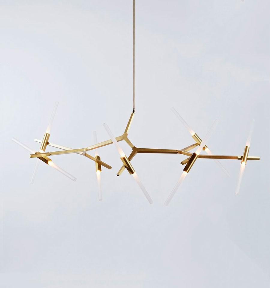 Lámpara de techo de diseño de 14 elementos de IconsCorner dorada