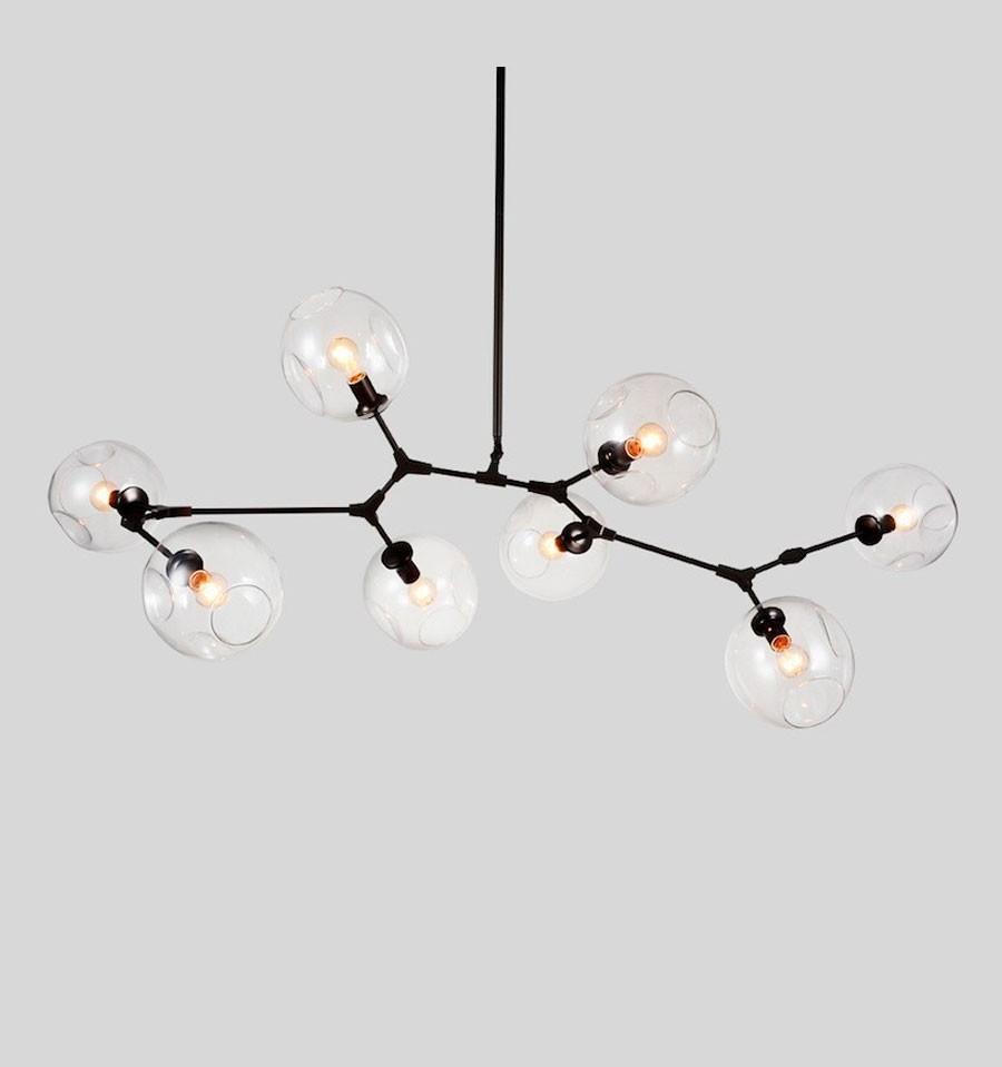 Lámpara de techo de diseño de 8 elementos de IconsCorner en color negro
