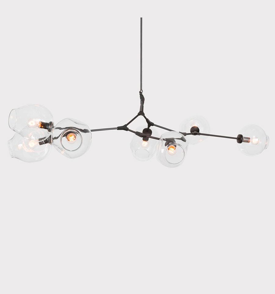 Lámpara de techo de diseño contemporáneo de 8 elementos de IconsCorner en color negro con tulipas de vidrio