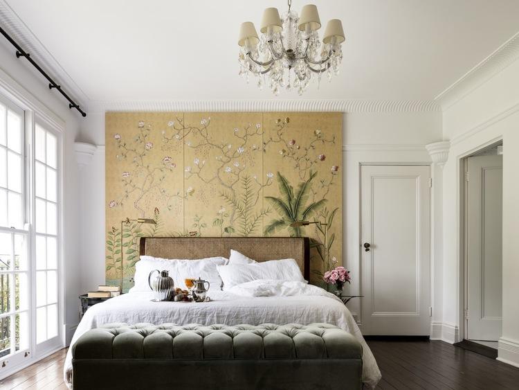 dormitorio estilo ecléctico con cabecero plano general