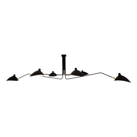 Lámpara de techo estilo Serge Mouille negra de 6 brazos
