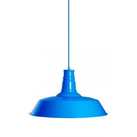 iluminación industrial: lámpara de techo metálica en color azul turquesa