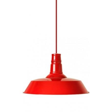 iluminación industrial: lámpara de techo metálica en color rojo intenso