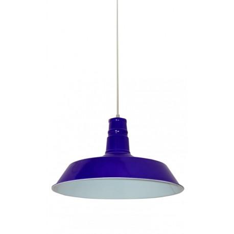iluminación industrial: lámpara de techo metálica en color azul cobalto